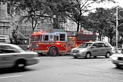 New York Fire Department Truck in Action