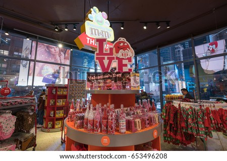 new york jan 28 chocolate prduct on the shelf in mm world shop at