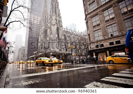 NEW YORK - JAN 7: St. Patrick Cathedral in blizzard on January 7, 2011 in Manhattan, New York City. St. Patrick's Cathedral built in 1858 is a decorated Neo-Gothic-style cathedral church in the US.
