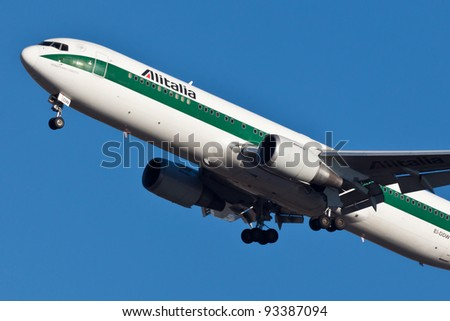 NEW YORK - JANUARY 6: AlItalia Boeing 767 on final to JFK airport located in New York, USA on January 6, 2012 AlItalia is a flag carrier airline of Italy and one of the biggest airlines in Europe