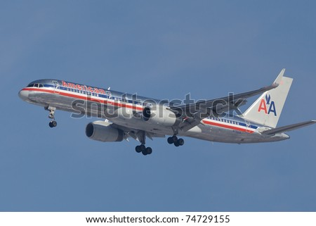 NEW YORK - JANUARY 16:Boeing 757 American Airline approaching JFK in New York, USA on January 16, 2011. American Airline is on of the oldest american airlines and one of the biggest in the world