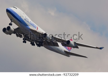 NEW YORK - JANUARY 8: Boeing 747 China Airline climbs from JFK airport in New York, USA on January 8, 2021. is the flag carrier of the Republic of China - commonly known as Taiwan