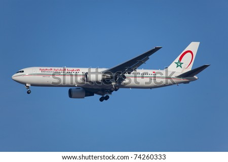 NEW YORK - JANUARY 20:Boeing 767 from Morocco Airline on final approach to JFK airport located in New York, USA on January 20, 2011 Royal Air Maroc is rated as a one of the worst airlines in the world