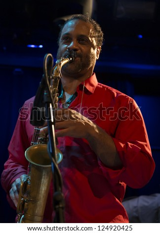 NEW YORK - JANUARY 12: Craig Handy sax performs with Billy Harper band The Cookers on stage as part of NYC Winter Jazz Festival at Le Poisson Rouge on January 12, 2013 in New York City