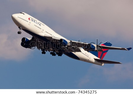 NEW YORK - JANUARY 2: Delta Boeing 747 on final to JFK in New York, USA, on January 2, 2011. Delta Air Lines is of of the major American airlines serve domestic and international destinations