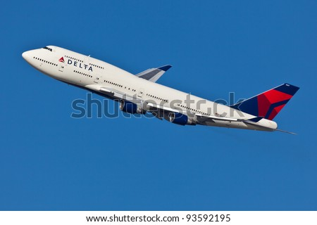 NEW YORK - JANUARY 2:Delta Boeing 747 Taking off from JFK in New York, USA on January 2, 2012 Delta Air Lines is one of the major American airlines that serves domestic and international destinations - stock photo