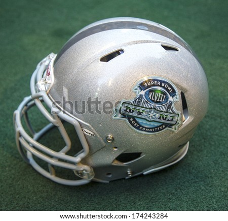 NEW YORK JANUARY 30 Football helmet with on Broadway Super Bowl XLVIII NY NJ Host Committee logo presented at Super Bowl XLVIII week in Manhattan on January 30 2014