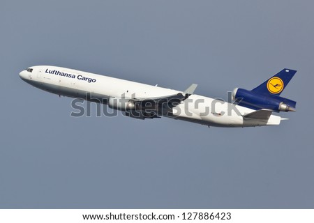 NEW YORK - JANUARY 2: McDonnell Douglas MD-11 Lufthansa climbs after take of from JFK in New York, USA on January 2, 2013. Lufthansa is the flag carrier of Germany and the largest airline in Europe