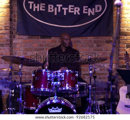 NEW YORK - JANUARY 06: Nate Townsley drums plays as part of NYC Winter Jazz Festival at The Bitter End on January 06, 2012 in New York City