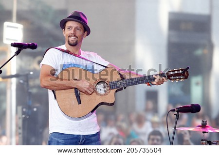 NEW YORK-JUL 18 Recording artist Jason Mraz performs in concert at NBC's Today Show at Rockefeller Plaza on July 18 2014 in New York City