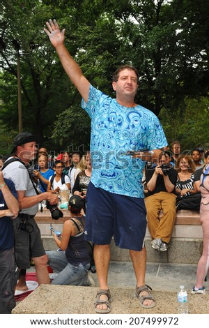 NEW YORK - JULY 26: Artist Andy Golub making a speech during first official Body Painting Event featuring artist Andy Golub on July 26, 2014 in New York NY