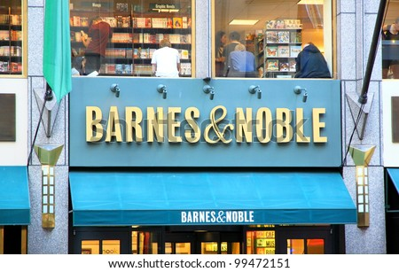 NEW YORK - JULY 15: Barnes and Noble sign on July 15, 2011 in New York.  With over 700 stores nationwide, Barnes and Noble Inc. is the largest book retailer in the United States.