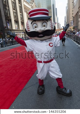 NEW YORK - JULY 16: Cincinnati Reds mascot Mr. Redlegs poses on red carpet during the MLB All-Star Game Red Carpet Show along 42nd street on July 16, 2013 in New York