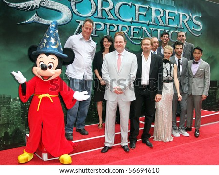 "NEW YORK - JULY 6: The cast of  ""The Sorcerer's Apprentice"" at the world premiere at the New Amsterdam Theatre on July 6, 2010 in New York City. - stock photo"