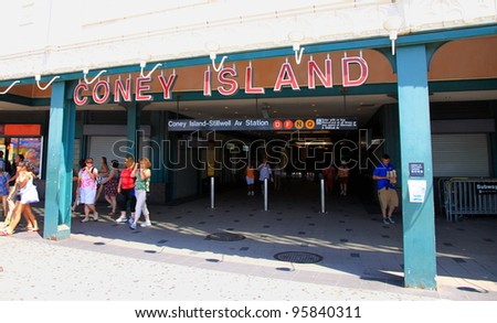 NEW YORK - JULY 16: The entrance of Coney Island subway station on July 16, 2011 in New York. Coney Island is served by four lines of the New York City Subway.