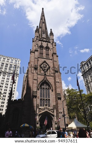NEW YORK - JULY 18: Trinity Church at Broadway and Wall Street on July 18, 2010 in New York. Trinity church is a historic, active parish church in the episcopal diocese of New York.