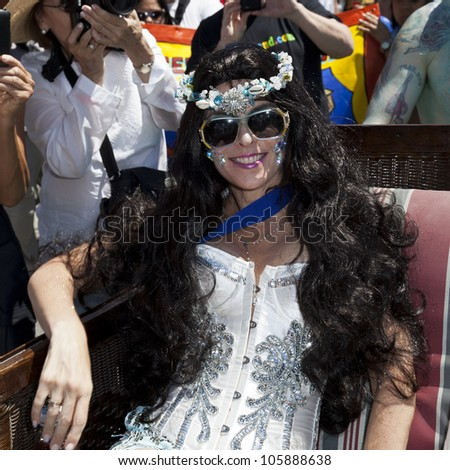 NEW YORK - JUNE 23: Actress Annabella Sciorra as Queen Mermaid attends 30th annual Mermaid parade on Coney Island in Brooklyn on June 23, 2012 in New York City.
