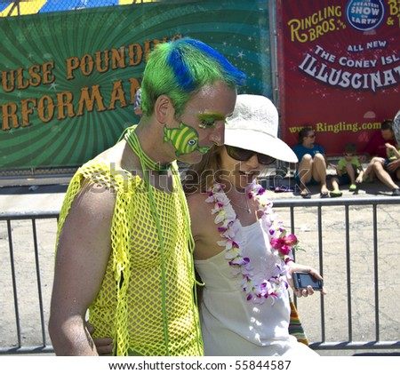 NEW YORK - JUNE 19: An unidentified Participants attend the 2010 Mermaid Parade at Coney Island on June 19, 2010 in the Brooklyn,  New York.