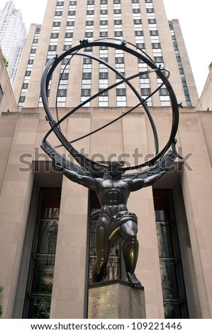 NEW YORK - JUNE 22: Atlas statue at Rockefeller Center on Fifth Avenue on June 22, 2012 in New York City. The sculpture is 15 feet tall, the entire statue is 45 feet tall, by sculptor Lee Lawrie.