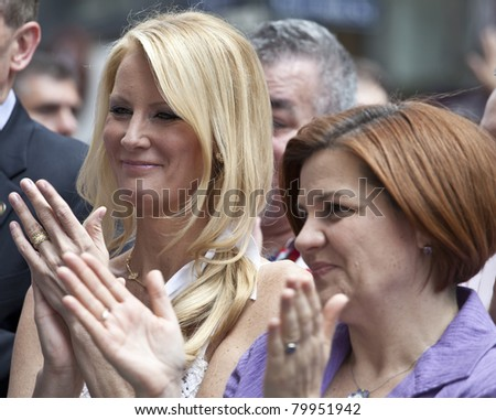 NEW YORK - JUNE 26: Christine Quinn CIty council speaker and Sandra Lee attend press conference at pride parade on June 26, 2011 in New York City, NY. #79951942