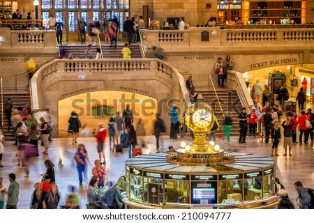 NEW YORK, JUNE 10: Commuters and tourists in the grand central station in June 10, 2013 in New York. It is the largest train station in the world by number of platforms: 44, with 67 tracks.