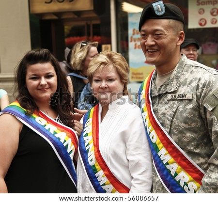 NEW YORK - JUNE 27: Grand Marshal Constance McMillen, Judy Shepard, lieutenant Dan Choi lead at the 2010 New York City Gay Pride March on the streets of Manhattan on June 27, 2010 in New York City.