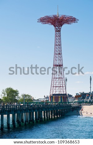 NEW YORK - JUNE 27: Parachute tower. Coney Island is known especially for its amusement park. It'a a peninsula and beach on the Atlantic Ocean in southern Brooklyn New York, June 27, 2012.
