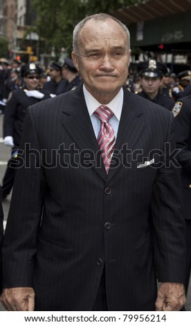 "NEW YORK - JUNE 26: Police commissioner Ray Kelly attends ""Pride March"" along Fifth Avenue at on June 26, 2011 in New York City, NY."