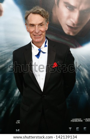 "NEW YORK-JUNE 10: Producer Bill Nye attends the world premiere of ""Man of Steel"" at Alice Tully Hall at Lincoln Center on June 10, 2013 in New York City."