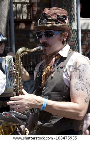 NEW YORK - JUNE 23: Unidentified participant attends 30th annual Mermaid parade on Coney Island in Brooklyn on June 23, 2012 in New York City.