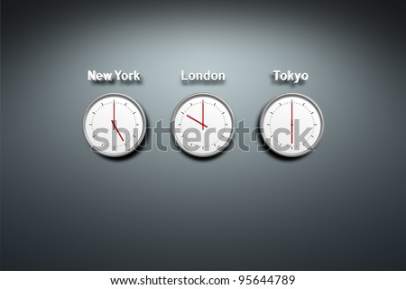 New York - London - Tokyo - time 3 clocks at the wall