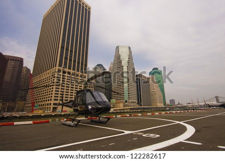 New York, Lower Manhattan - Helicopter standing by for take off