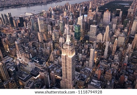 New York Manhattan Aerial Photography of Midtown with Empire State Building View #1118794928