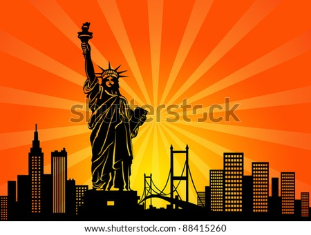 New York Manhattan City Skyline and Statue of Liberty Illustration - stock photo