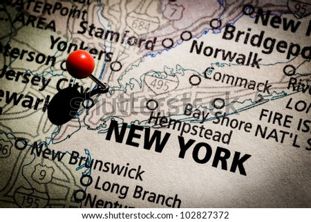 New York map with red pushpin.