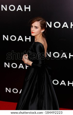 "NEW YORK-MAR 26: Actress Emma Watson attends the premiere of ""Noah"" at the Ziegfeld Theatre on March 26, 2014 in New York City."