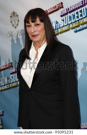 "NEW YORK - MAR 27: Anjelica Huston arriving at the ""How To Succeed In Business Without Really Trying"" premiere at the Al Hirschfeld Theatre in New York, NY on March 27, 2011."
