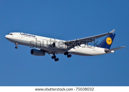 NEW YORK - MARCH 5: A330 of Lufthansa on short final to JFK in New York, USA on March 5, 2011. Lufthansa is rated top10 biggest airlines in the world and top3 biggest European Airlines.