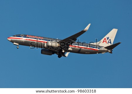 NEW YORK - MARCH 16:Boeing 737 American Airline approaching JFK in New York, USA on March 16, 2012. American Airline is on of the oldest American airlines and one of the biggest in the world