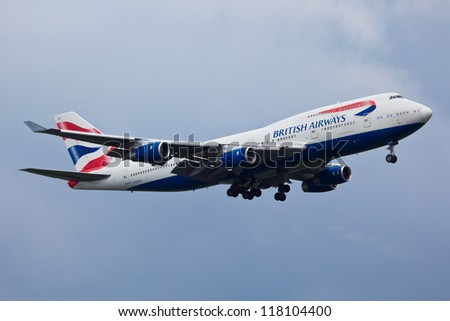 NEW YORK - MARCH 20: Boeing 747 British Airways climbs after take off from JFK in New York, USA on March 20, 2012. British Airways is one of the oldest airlines and rated top 3 biggest in Europe