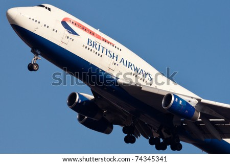 NEW YORK - MARCH 10: Boeing 747 British Airways climbs after take off from JFK in New York, USA on March 10, 2011. British Airways is one of the oldest airlines and rated top3 biggest in Europe