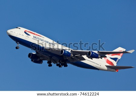 NEW YORK - MARCH 10: Boeing 747 British Airways climbs after take off from JFK in New York, USA on March 10, 2011. British Airways is one of the oldest airlines and rated top 3 biggest in Europe