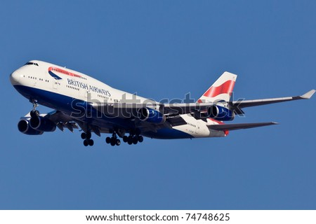 NEW YORK - MARCH 20: Boeing 747 British Airways climbs after take off from JFK in New York, USA on March 20, 2011. British Airways is one of the oldest airlines and rated top 3 biggest in Europe