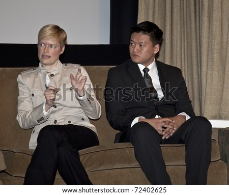 NEW YORK - MARCH 03: Journalist Kerry Eleveld and Lieutenant Dan Choi participate in Straight Talk conference by LGBT community on March 03, 2011 in New York City