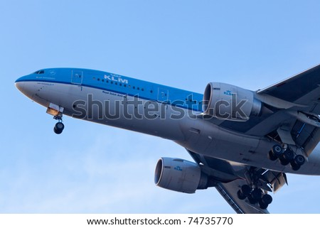 NEW YORK - MARCH 9: KLM Boeing 767 climbs after take off from JFK Airport located in New York, USA on March 9, 2011. KLM is one of the biggest airlines in the world serve for over 200 destinations