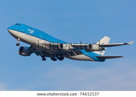 NEW YORK - MARCH 25: KLM Boeing 747 on approach to JFK Airport located in New York, USA on March 25, 2011. KLM is one of the biggest airlines in the world and serves over 200 destinations