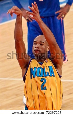 NEW YORK - MARCH 2: New Orleans Hornets guard Jarrett Jack (2) shoots a free throw against the New York Knicks at Madison Square Garden on March 2, 2011 in New York City.