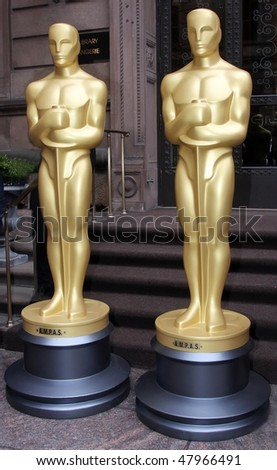 NEW YORK - MARCH 4: Two 8-foot golden statues arrive at GILT at the New York Palace Hotel as part of the official New York Oscar night celebration on March 4, 2010 in New York City