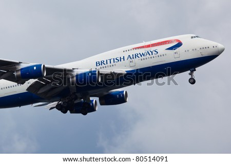 NEW YORK - MAY 20: Boeing 747 British Airways climbs after take off from JFK in New York, USA on May 20, 2011. British Airways is one of the oldest airlines and rated top 3 biggest in Europe