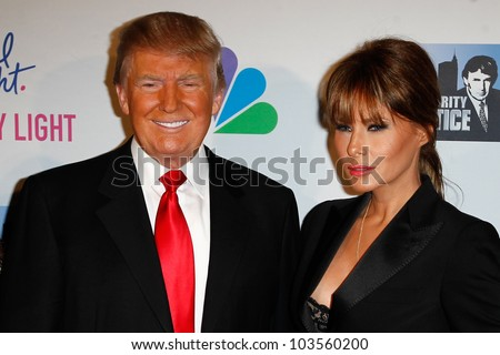 "NEW YORK-MAY 20: Donald Trump and wife Melania attend the ""Celebrity Apprentice"" Live Finale at the American Museum of Natural History on May 20, 2012 in New York City."